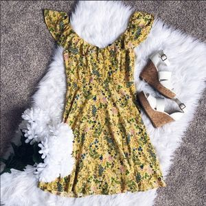Old Navy Yellow Floral Smocked Dress